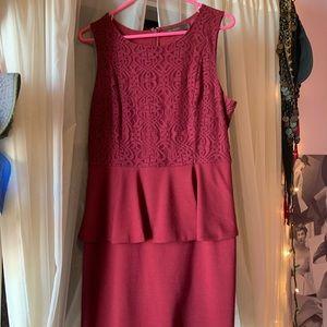 Burgundy shoulder less dress
